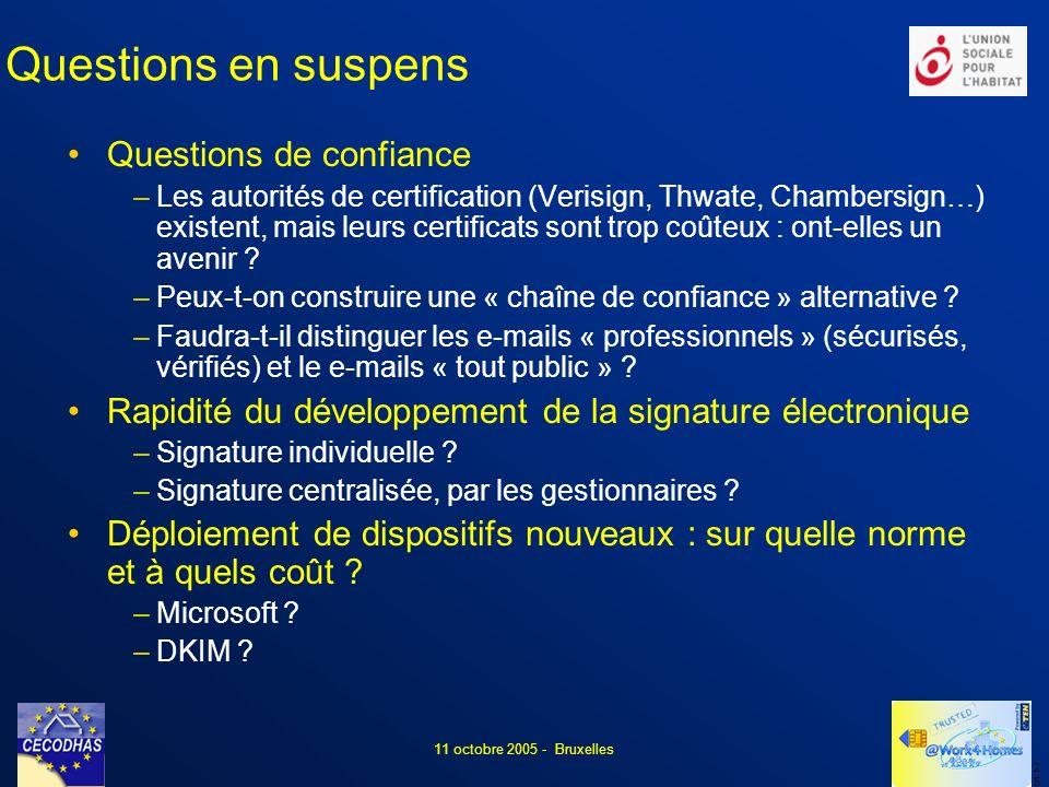 2525 11 octobre 2005 - Bruxelles Questions en suspens Questions de confiance –Les autorités de certification (Verisign, Thwate, Chambersign…) existent, mais leurs certificats sont trop coûteux : ont-elles un avenir .