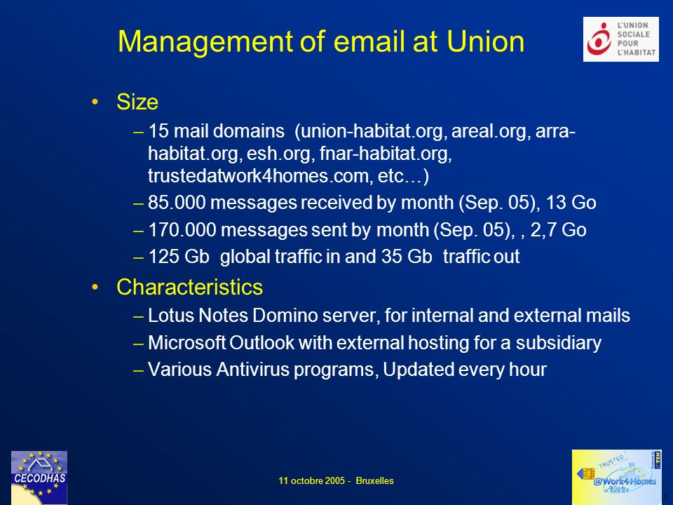4 11 octobre 2005 - Bruxelles For the users Eliminate loss of time due to treatment of the messages where the identity of the sender is forged Keep the ease of use of « current » mail systems Improve the « trust » in the messages received For the mail manager Keeping a high level of security in the mail management Minimizing the constraints imposed on the user For the users Reception of problematic messages Refusal to spend time before opening the messages Loss of « Trust » in received messages For the mail manager Impossibility of stopping all the viruses (propagation more rapid than the creation of an antivirus) Difficulty to adapt anti-spam and refusal to analyse « blocked messages » Need to continue to distribute messages in real time Problems Objectives