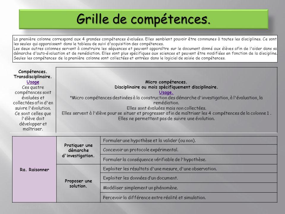 Camille Borghi-Pascal Cherbuin. pascal.cherbuin@ac- versailles.fr La première colonne correspond aux 4 grandes compétences évaluées. Elles semblent po