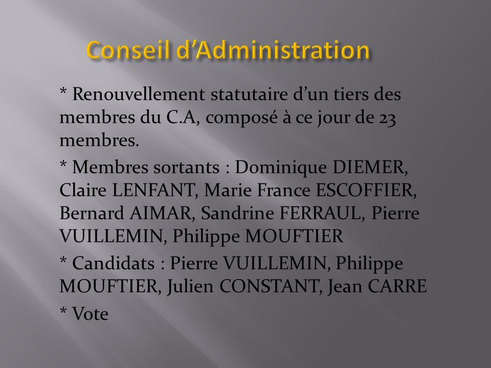 * Renouvellement statutaire dun tiers des membres du C.A, composé à ce jour de 23 membres.