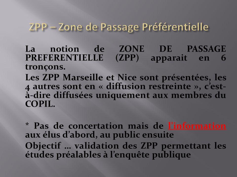 La notion de ZONE DE PASSAGE PREFERENTIELLE (ZPP) apparait en 6 tronçons.