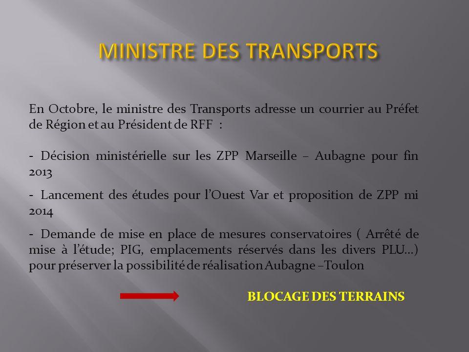 En Octobre, le ministre des Transports adresse un courrier au Préfet de Région et au Président de RFF : - Décision ministérielle sur les ZPP Marseille – Aubagne pour fin 2013 - Lancement des études pour lOuest Var et proposition de ZPP mi 2014 - Demande de mise en place de mesures conservatoires ( Arrêté de mise à létude; PIG, emplacements réservés dans les divers PLU…) pour préserver la possibilité de réalisation Aubagne –Toulon BLOCAGE DES TERRAINS