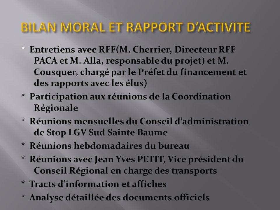 * Entretiens avec RFF(M.Cherrier, Directeur RFF PACA et M.