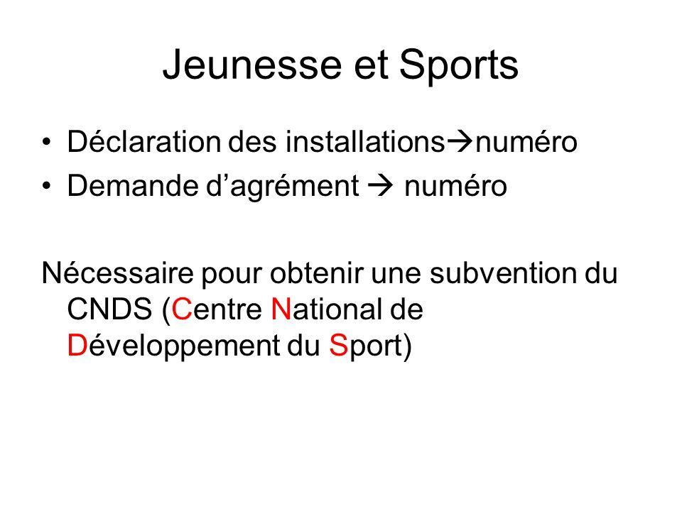 Jeunesse et Sports Déclaration des installations numéro Demande dagrément numéro Nécessaire pour obtenir une subvention du CNDS (Centre National de Développement du Sport)
