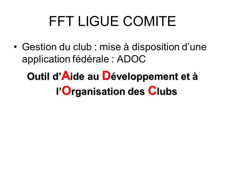 FFT LIGUE COMITE Gestion du club : mise à disposition dune application fédérale : ADOC Outil d A ide au D éveloppement et à l O rganisation des C lubs