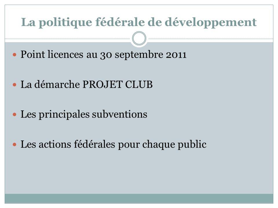 La politique fédérale de développement Point licences au 30 septembre 2011 La démarche PROJET CLUB Les principales subventions Les actions fédérales pour chaque public