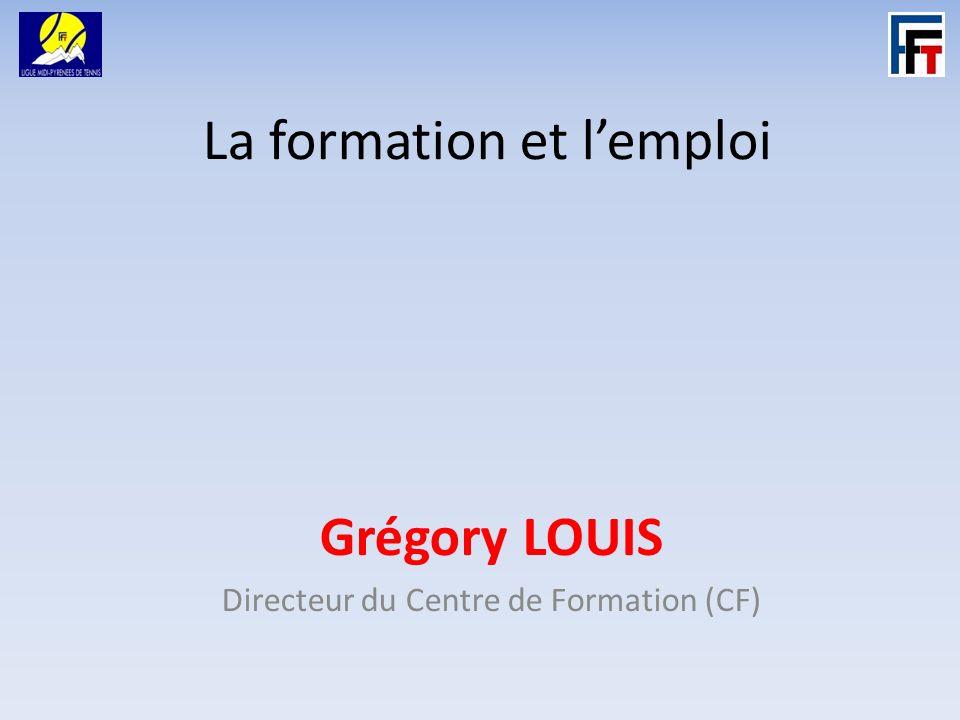 La formation et lemploi Grégory LOUIS Directeur du Centre de Formation (CF)