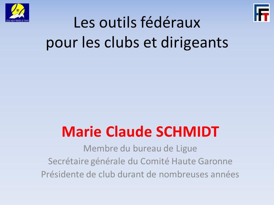 Les outils fédéraux pour les clubs et dirigeants Marie Claude SCHMIDT Membre du bureau de Ligue Secrétaire générale du Comité Haute Garonne Présidente de club durant de nombreuses années