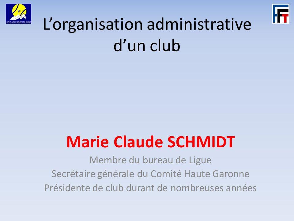 Lorganisation administrative dun club Marie Claude SCHMIDT Membre du bureau de Ligue Secrétaire générale du Comité Haute Garonne Présidente de club durant de nombreuses années
