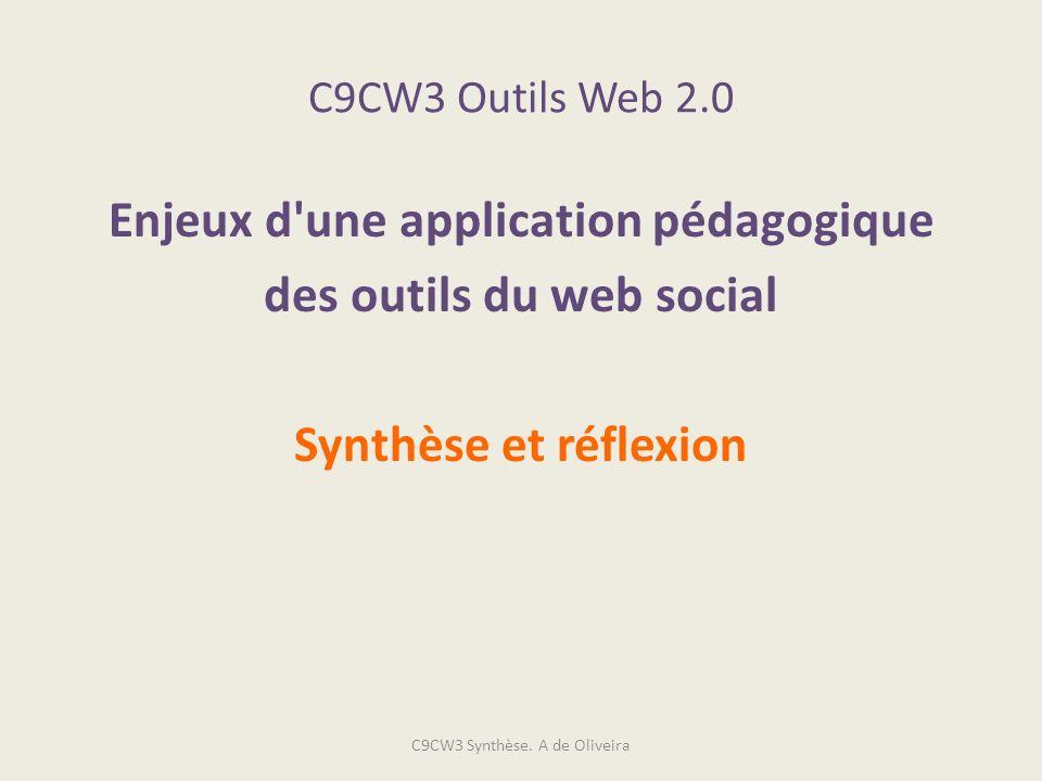 C9CW3 Outils Web 2.0 Enjeux d'une application pédagogique des outils du web social Synthèse et réflexion C9CW3 Synthèse. A de Oliveira