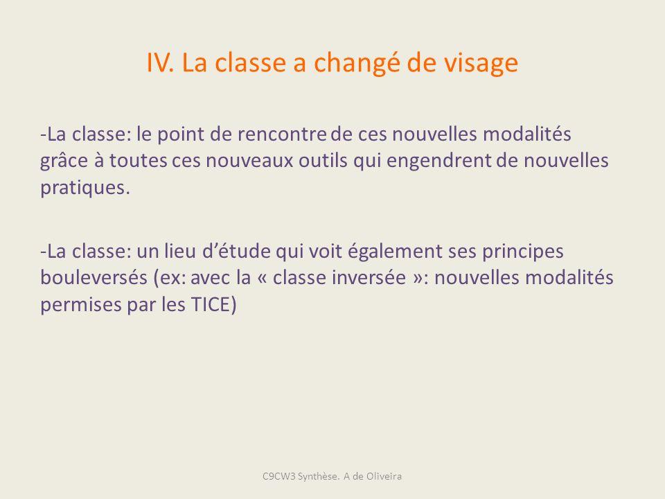 IV. La classe a changé de visage -La classe: le point de rencontre de ces nouvelles modalités grâce à toutes ces nouveaux outils qui engendrent de nou