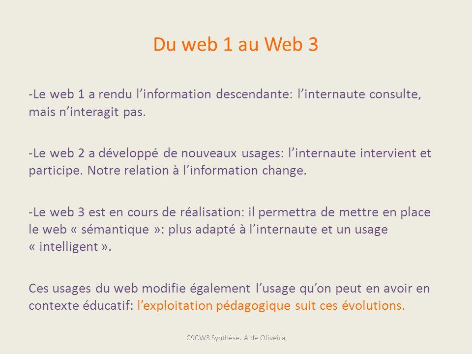 Du web 1 au Web 3 -Le web 1 a rendu linformation descendante: linternaute consulte, mais ninteragit pas. -Le web 2 a développé de nouveaux usages: lin