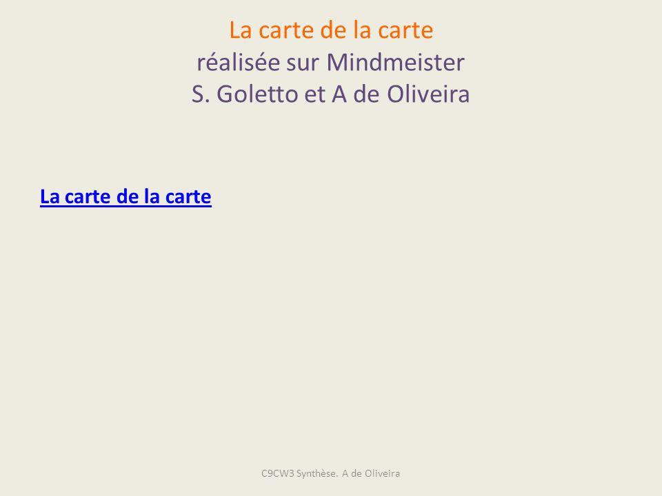 La carte de la carte réalisée sur Mindmeister S. Goletto et A de Oliveira La carte de la carte C9CW3 Synthèse. A de Oliveira