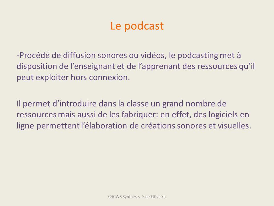 Le podcast -Procédé de diffusion sonores ou vidéos, le podcasting met à disposition de lenseignant et de lapprenant des ressources quil peut exploiter