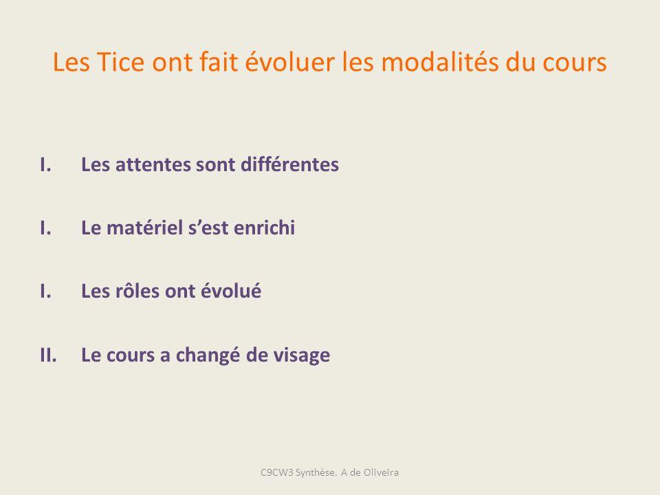 Les Tice ont fait évoluer les modalités du cours I.Les attentes sont différentes I.Le matériel sest enrichi I.Les rôles ont évolué II.Le cours a chang