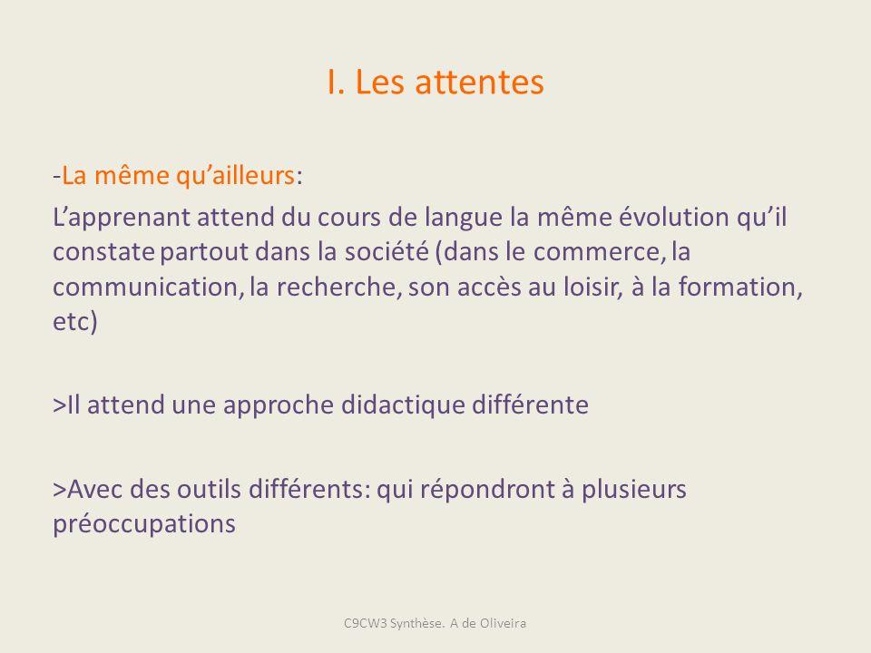 I. Les attentes -La même quailleurs: Lapprenant attend du cours de langue la même évolution quil constate partout dans la société (dans le commerce, l
