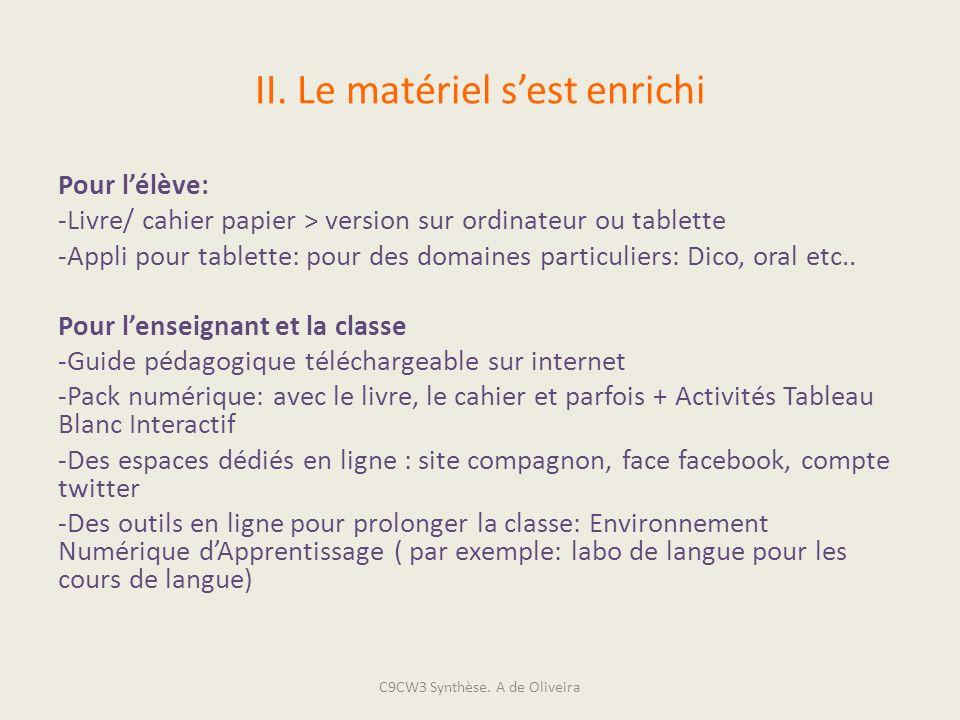 II. Le matériel sest enrichi Pour lélève: -Livre/ cahier papier > version sur ordinateur ou tablette -Appli pour tablette: pour des domaines particuli