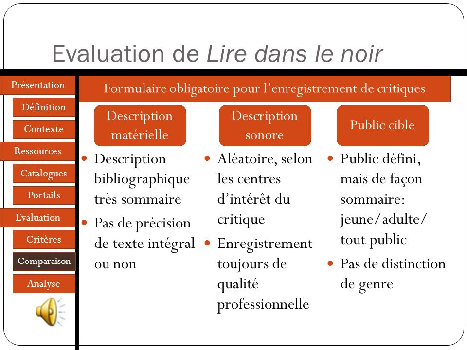 Présentation Définition Contexte Ressources Catalogues Portails Evaluation Critères Comparaison Analyse Présentation des sites Architecture commune de