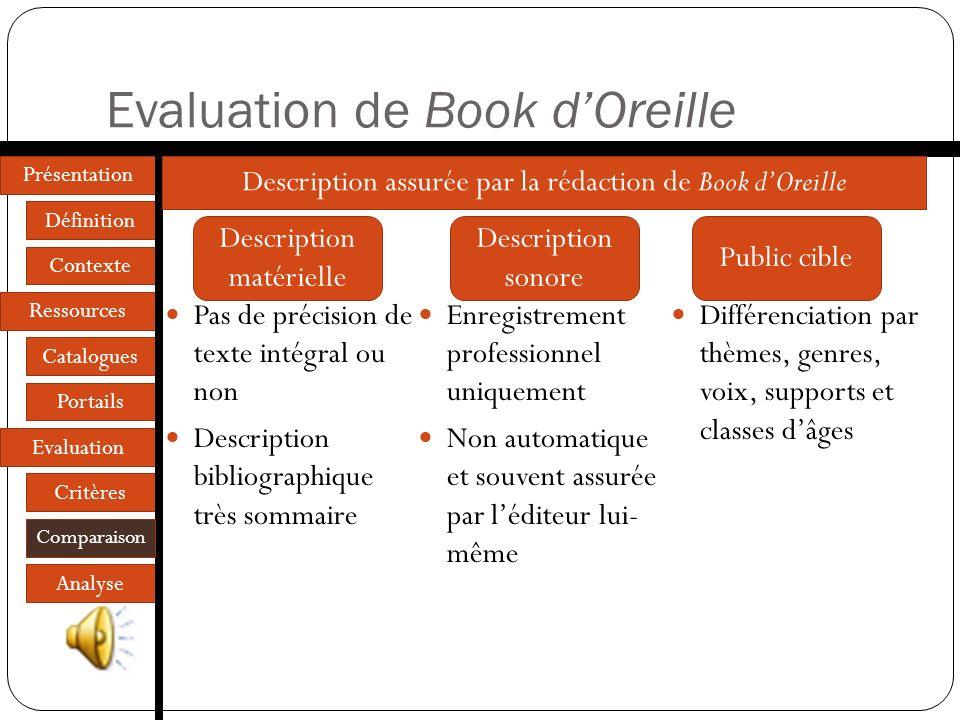 Présentation Définition Contexte Ressources Catalogues Portails Evaluation Critères Comparaison Analyse Evaluation de Lire dans le noir Description bi