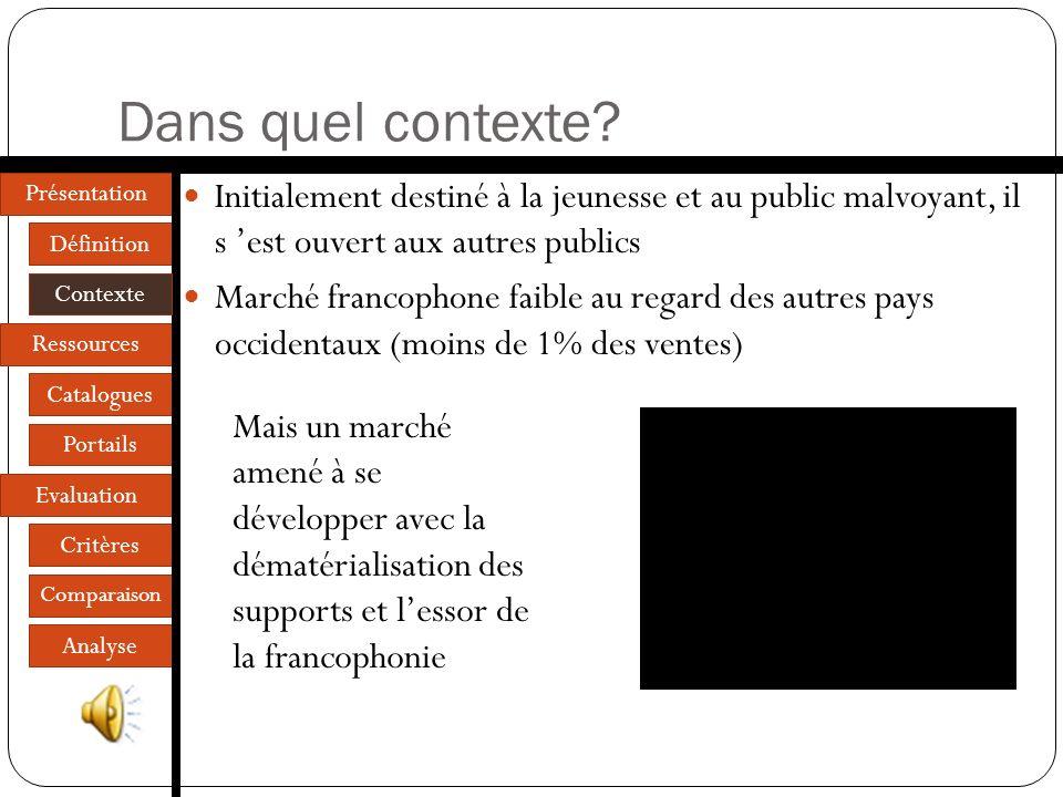 Présentation Définition Contexte Ressources Catalogues Portails Evaluation Critères Comparaison Analyse Dans quel contexte.