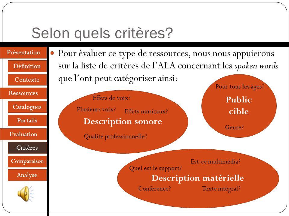 Présentation Définition Contexte Ressources Catalogues Portails Evaluation Critères Comparaison Analyse Selon quels critères.