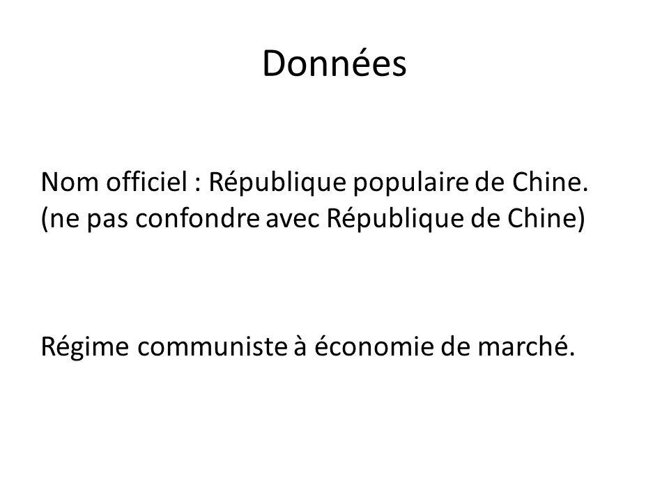 Données Nom officiel : République populaire de Chine. (ne pas confondre avec République de Chine) Régime communiste à économie de marché.