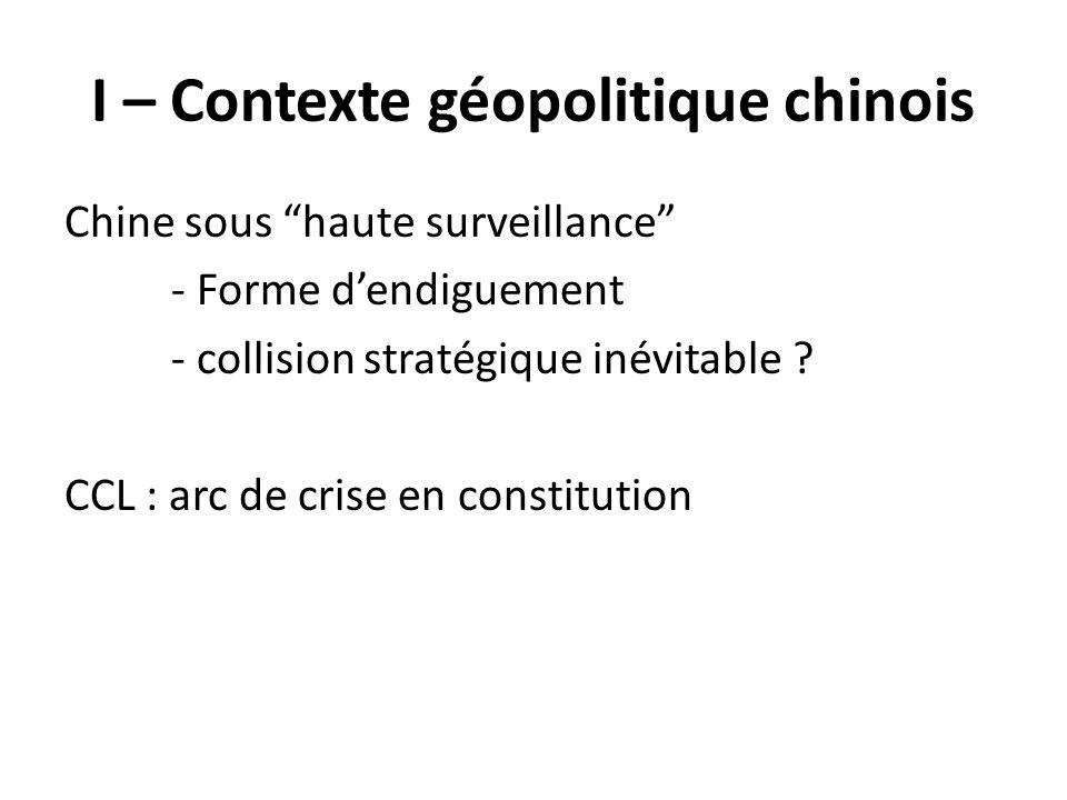 I – Contexte géopolitique chinois Chine sous haute surveillance - Forme dendiguement - collision stratégique inévitable ? CCL : arc de crise en consti