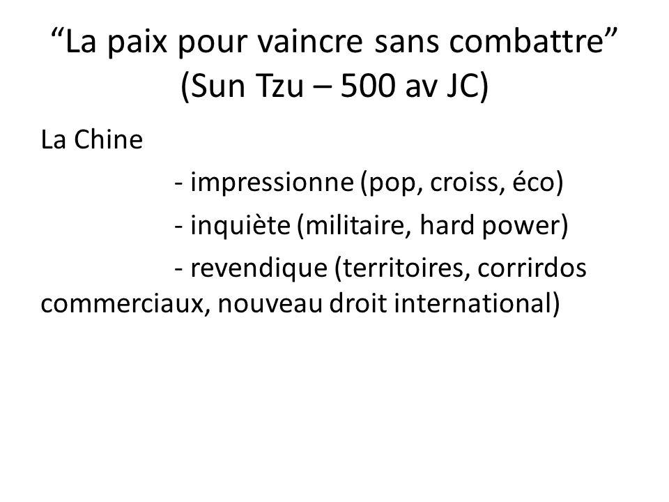 La paix pour vaincre sans combattre (Sun Tzu – 500 av JC) La Chine - impressionne (pop, croiss, éco) - inquiète (militaire, hard power) - revendique (