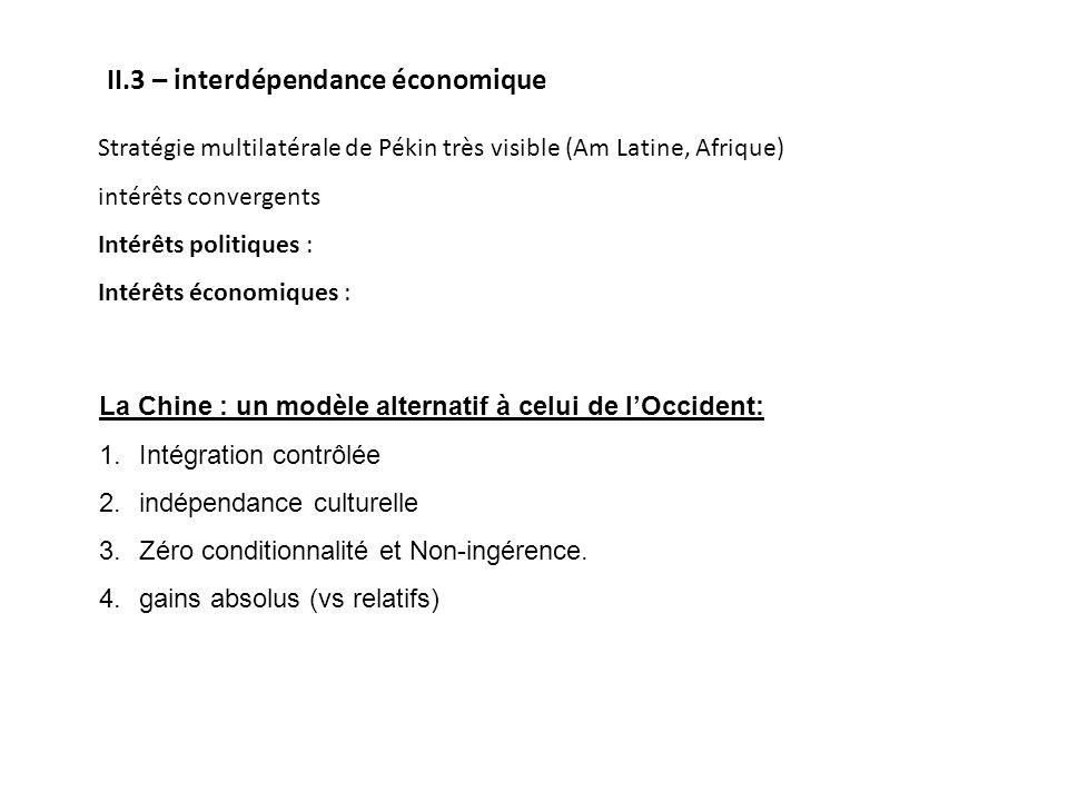 II.3 – interdépendance économique Stratégie multilatérale de Pékin très visible (Am Latine, Afrique) intérêts convergents Intérêts politiques : Intérê