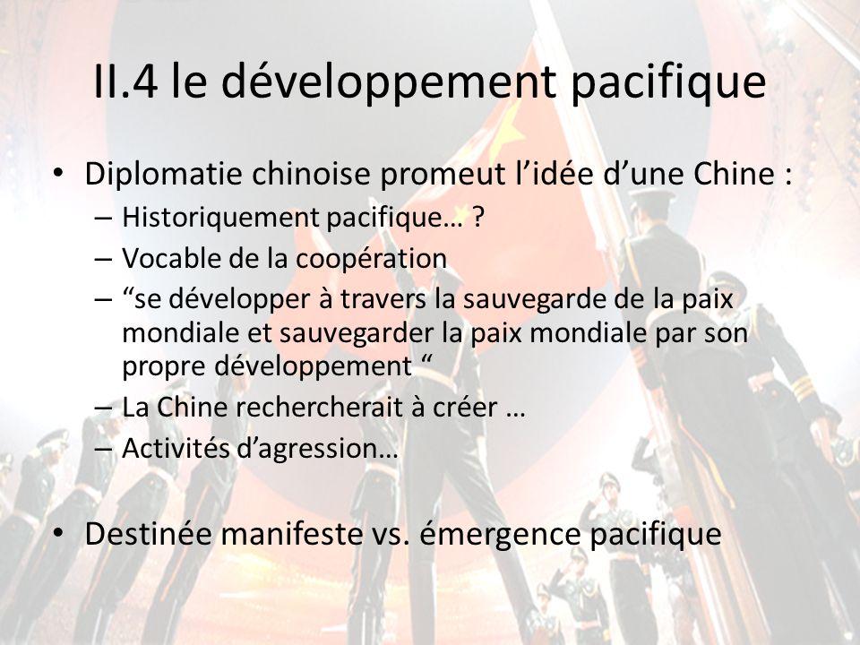 II.4 le développement pacifique Diplomatie chinoise promeut lidée dune Chine : – Historiquement pacifique… ? – Vocable de la coopération –se développe