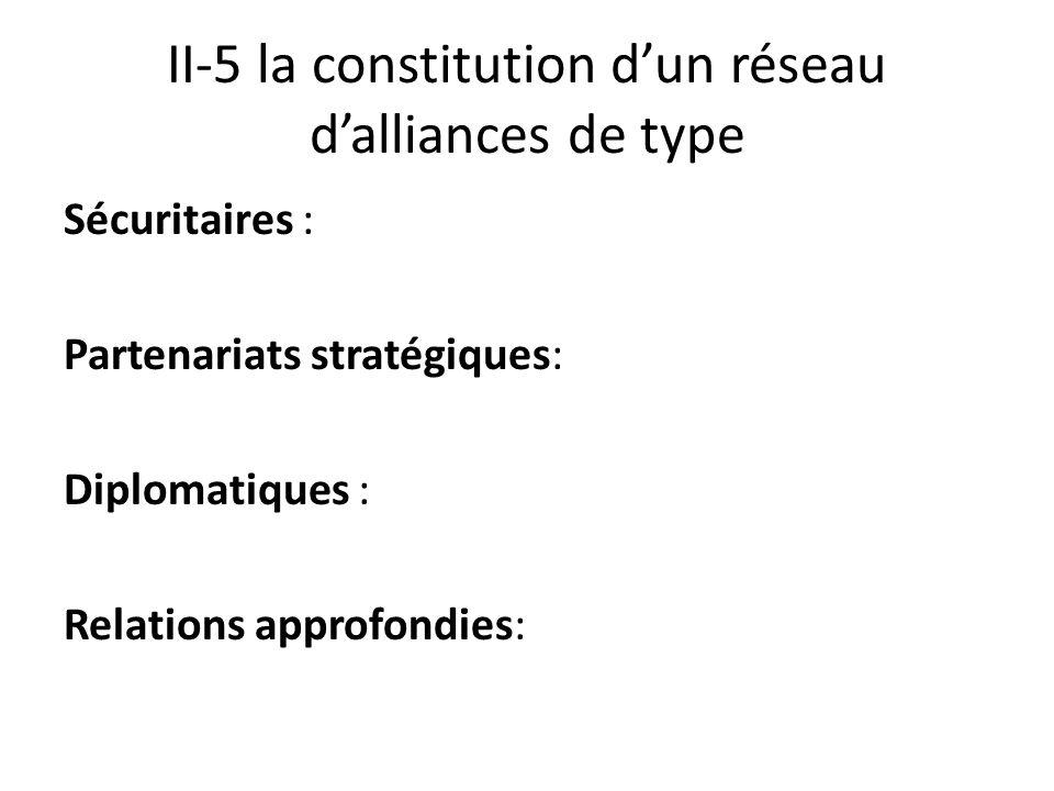 II-5 la constitution dun réseau dalliances de type Sécuritaires : Partenariats stratégiques: Diplomatiques : Relations approfondies:
