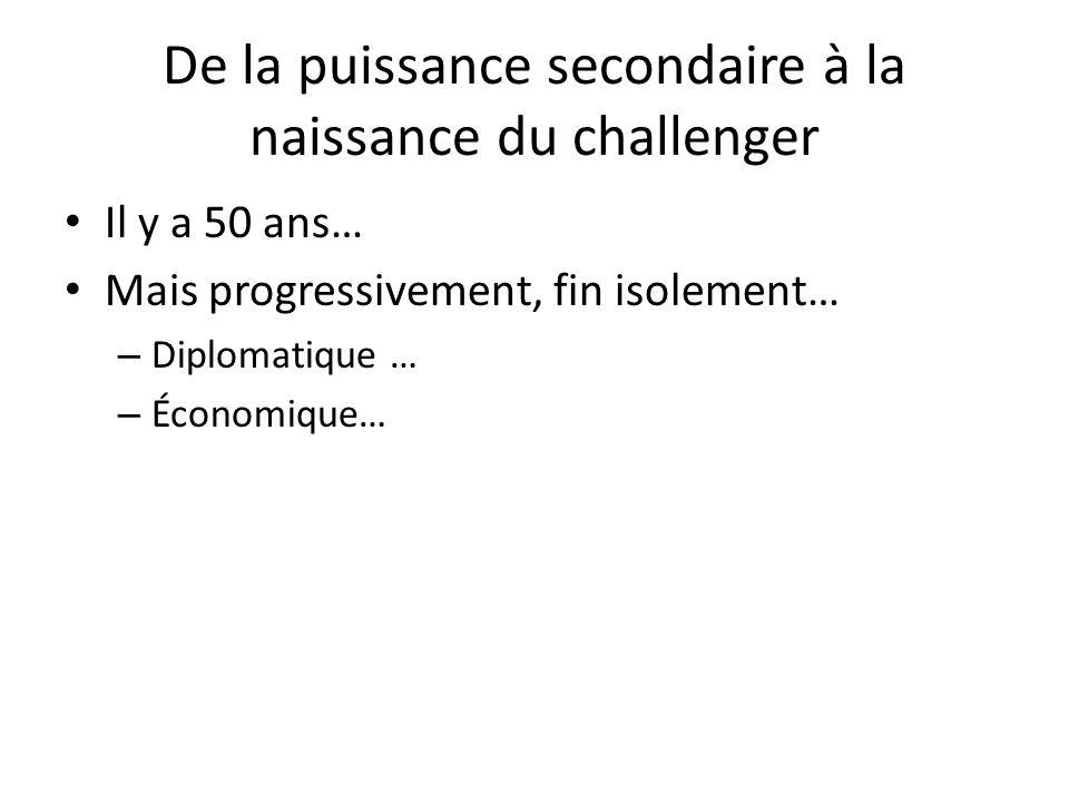 De la puissance secondaire à la naissance du challenger Il y a 50 ans… Mais progressivement, fin isolement… – Diplomatique … – Économique…