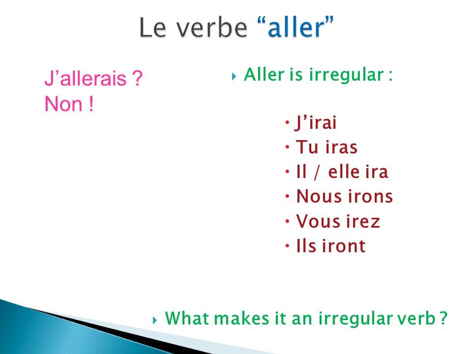 Aller is irregular : Jirai Tu iras Il / elle ira Nous irons Vous irez Ils iront What makes it an irregular verb .