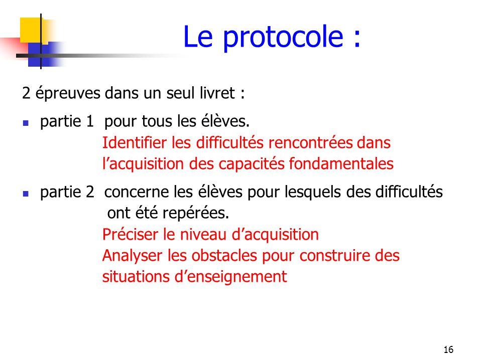 16 Le protocole : 2 épreuves dans un seul livret : partie 1 pour tous les élèves. Identifier les difficultés rencontrées dans lacquisition des capacit