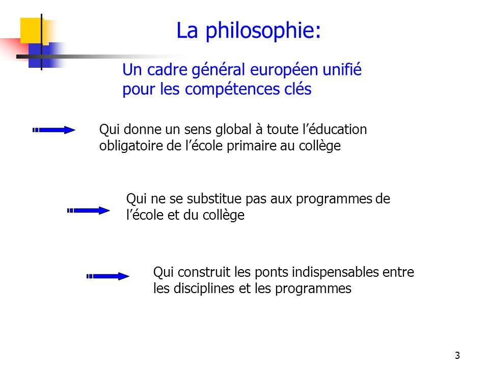 3 La philosophie: Un cadre général européen unifié pour les compétences clés Qui donne un sens global à toute léducation obligatoire de lécole primair