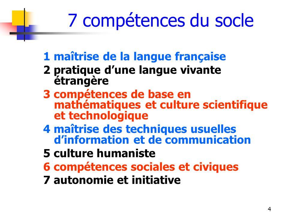 4 7 compétences du socle 1 maîtrise de la langue française 2 pratique dune langue vivante étrangère 3 compétences de base en mathématiques et culture
