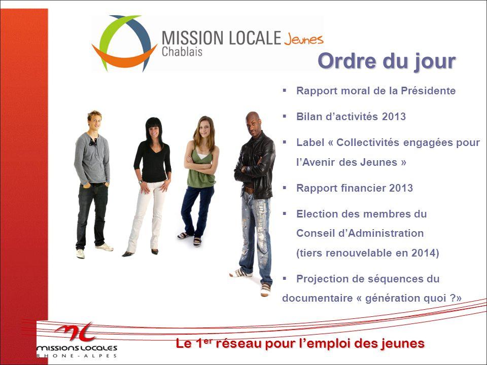 Le 1 er réseau pour lemploi des jeunes Ordre du jour Rapport moral de la Présidente Bilan dactivités 2013 Label « Collectivités engagées pour lAvenir