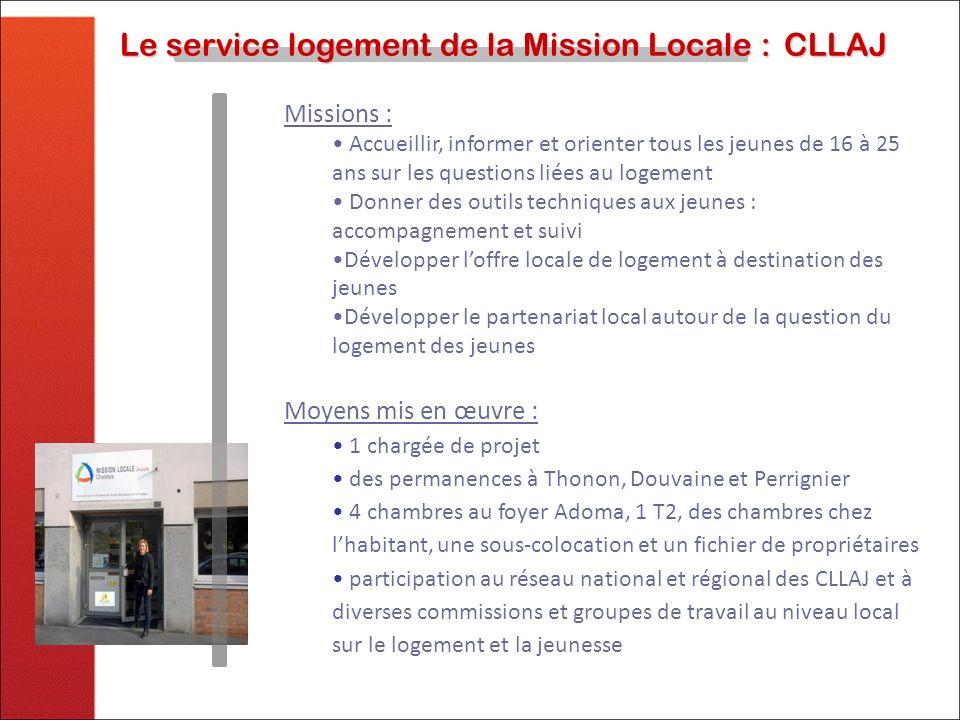 Le service logement de la Mission Locale :CLLAJ Le service logement de la Mission Locale :CLLAJ Missions : Accueillir, informer et orienter tous les j