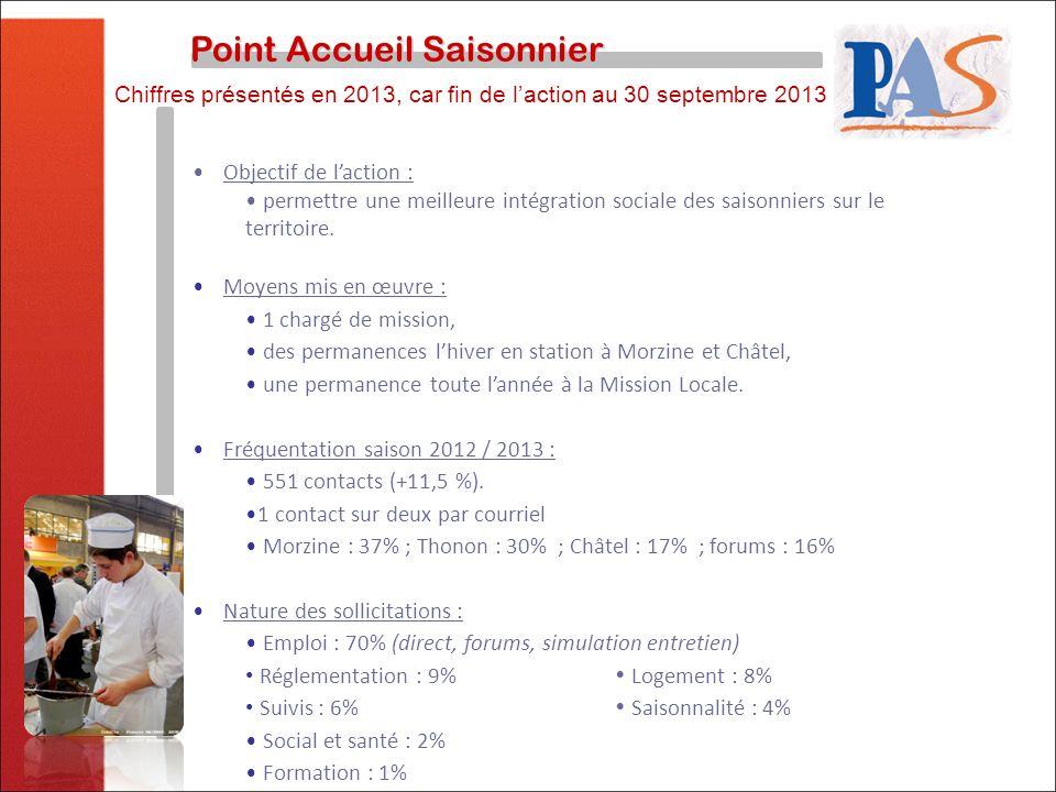 Point Accueil Saisonnier Point Accueil Saisonnier Objectif de laction : permettre une meilleure intégration sociale des saisonniers sur le territoire.