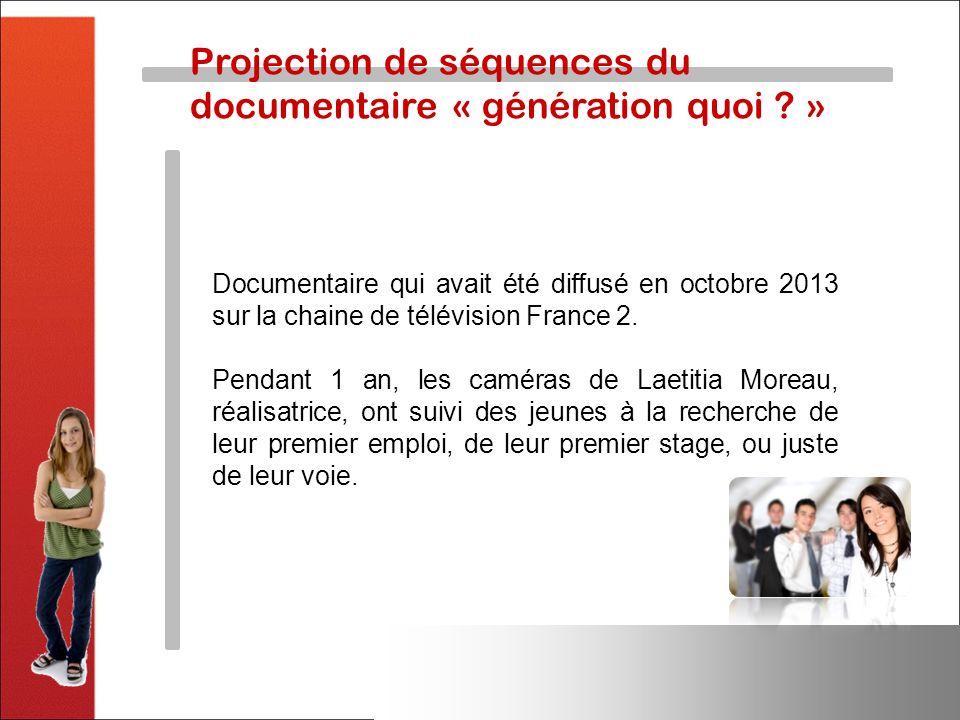 Projection de séquences du documentaire « génération quoi ? » Documentaire qui avait été diffusé en octobre 2013 sur la chaine de télévision France 2.