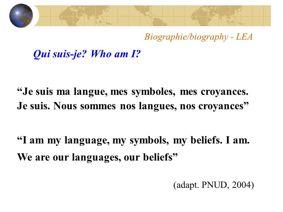 Biographie/biography - LEA Je suis ma langue, mes symboles, mes croyances.