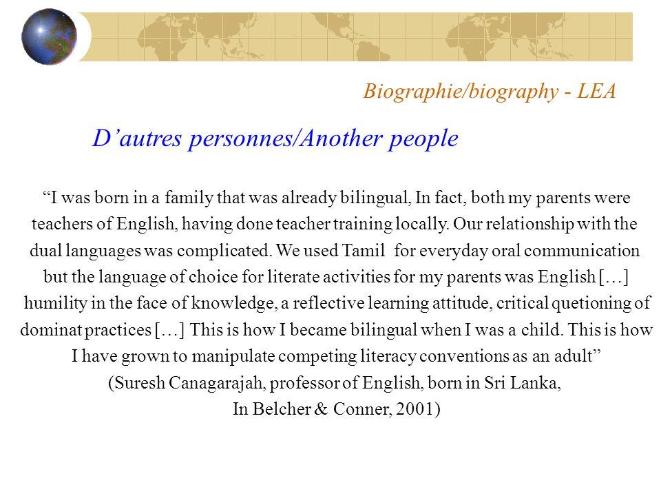 Biographie/biography - LEA Maintenant, cest à vous de vous présenter.