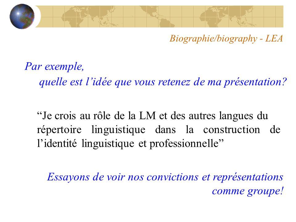 Biographie/biography - LEA Par exemple, quelle est lidée que vous retenez de ma présentation.