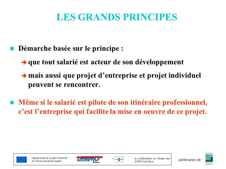LES GRANDS PRINCIPES n Démarche basée sur le principe : è que tout salarié est acteur de son développement è mais aussi que projet dentreprise et proj