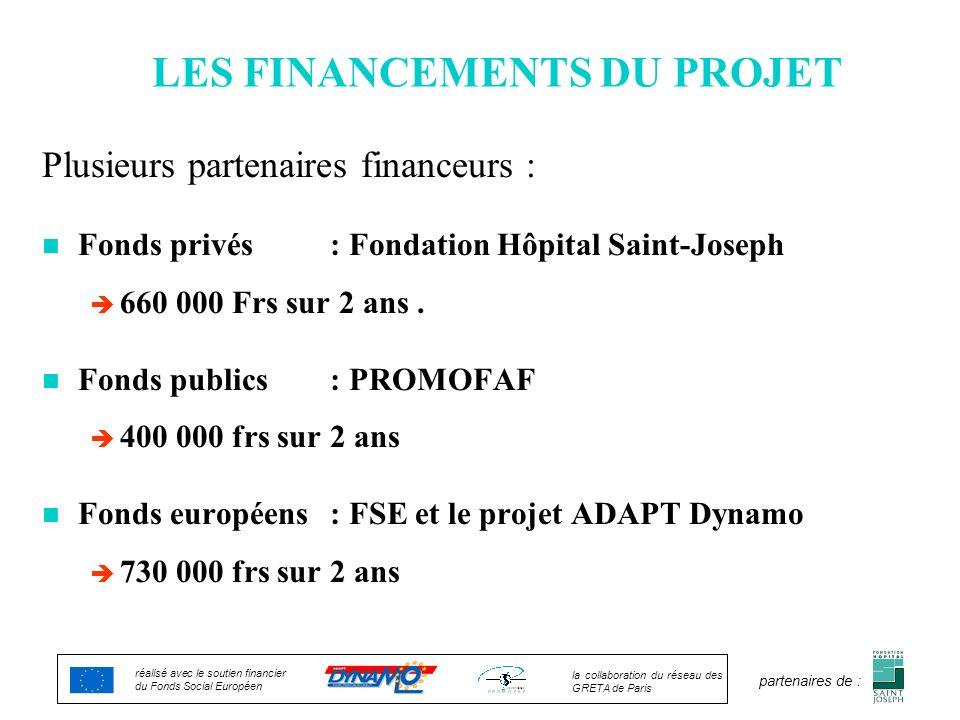 LES FINANCEMENTS DU PROJET Plusieurs partenaires financeurs : n Fonds privés : Fondation Hôpital Saint-Joseph è 660 000 Frs sur 2 ans. n Fonds publics