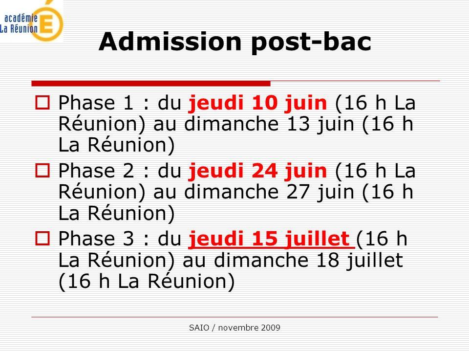 SAIO / novembre 2009 Phase 1 : du jeudi 10 juin (16 h La Réunion) au dimanche 13 juin (16 h La Réunion) Phase 2 : du jeudi 24 juin (16 h La Réunion) au dimanche 27 juin (16 h La Réunion) Phase 3 : du jeudi 15 juillet (16 h La Réunion) au dimanche 18 juillet (16 h La Réunion) Admission post-bac