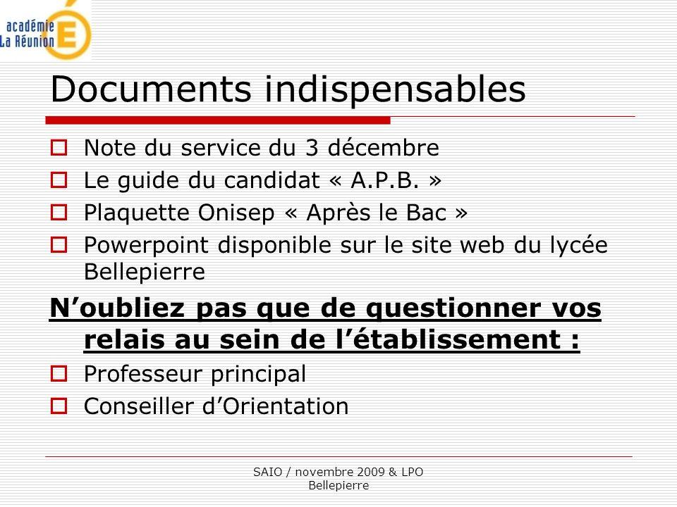 Documents indispensables Note du service du 3 décembre Le guide du candidat « A.P.B.