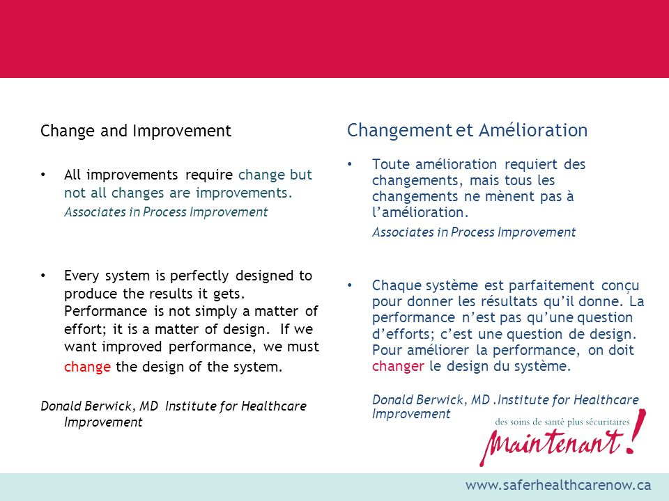 www.saferhealthcarenow.ca Change and Improvement All improvements require change but not all changes are improvements.