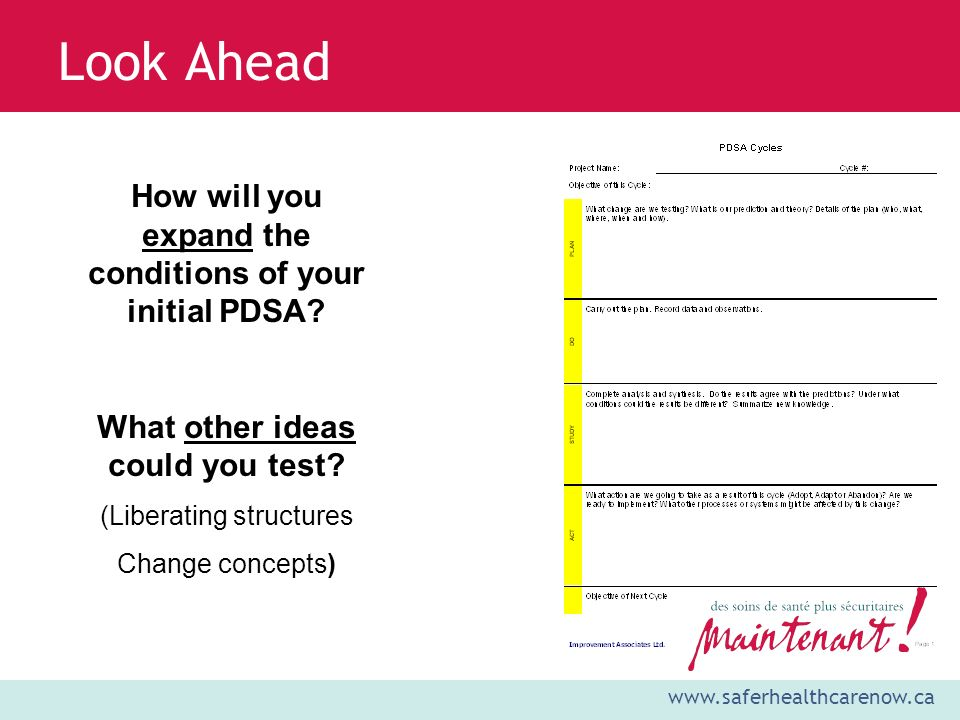 www.saferhealthcarenow.ca Look Ahead How will you expand the conditions of your initial PDSA.