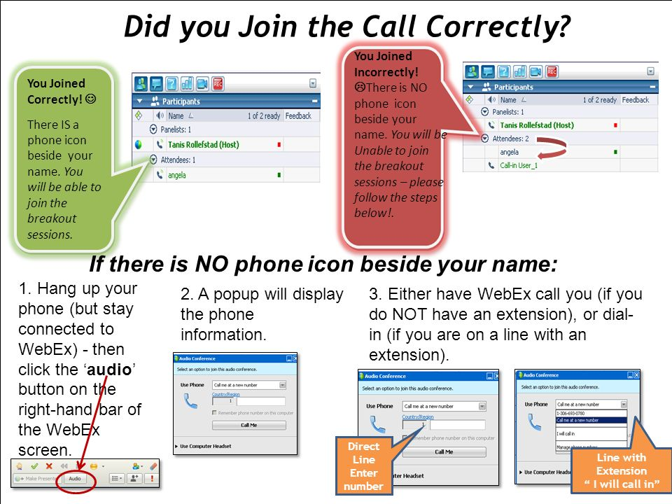 STOP Infections Now! You Joined Incorrectly! There is NO phone icon beside your name. You will be Unable to join the breakout sessions – please follow